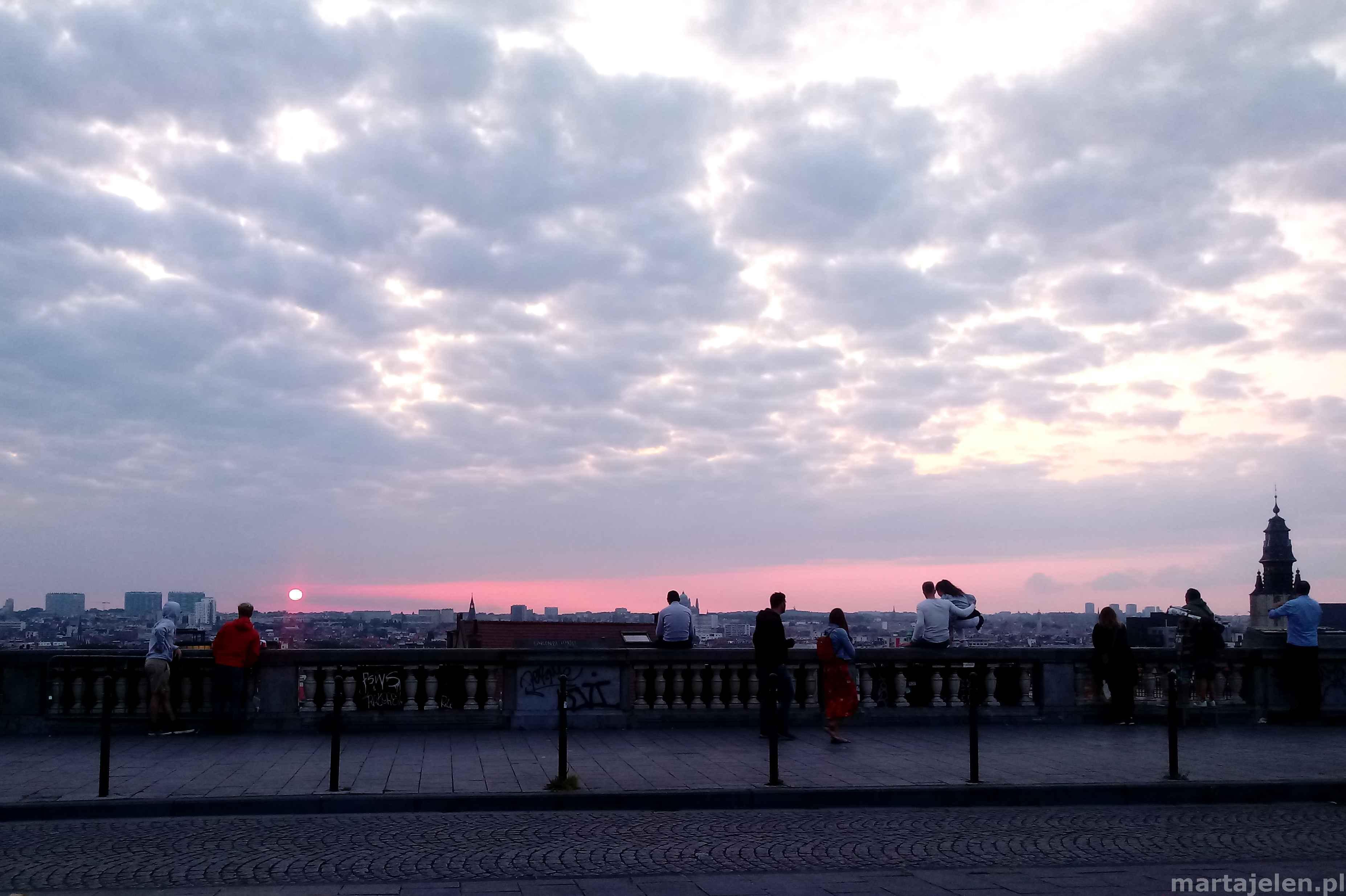 Widok na panoramę Brukseli o zachodzie słońca