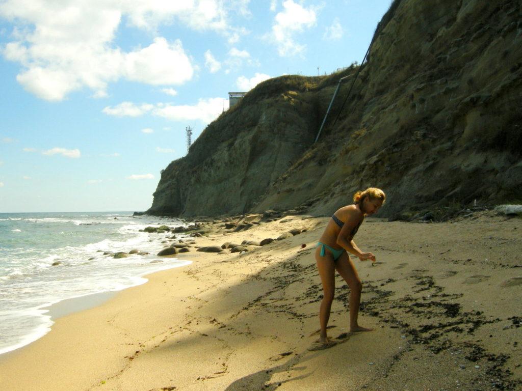 Zbieranie muszli na plaży