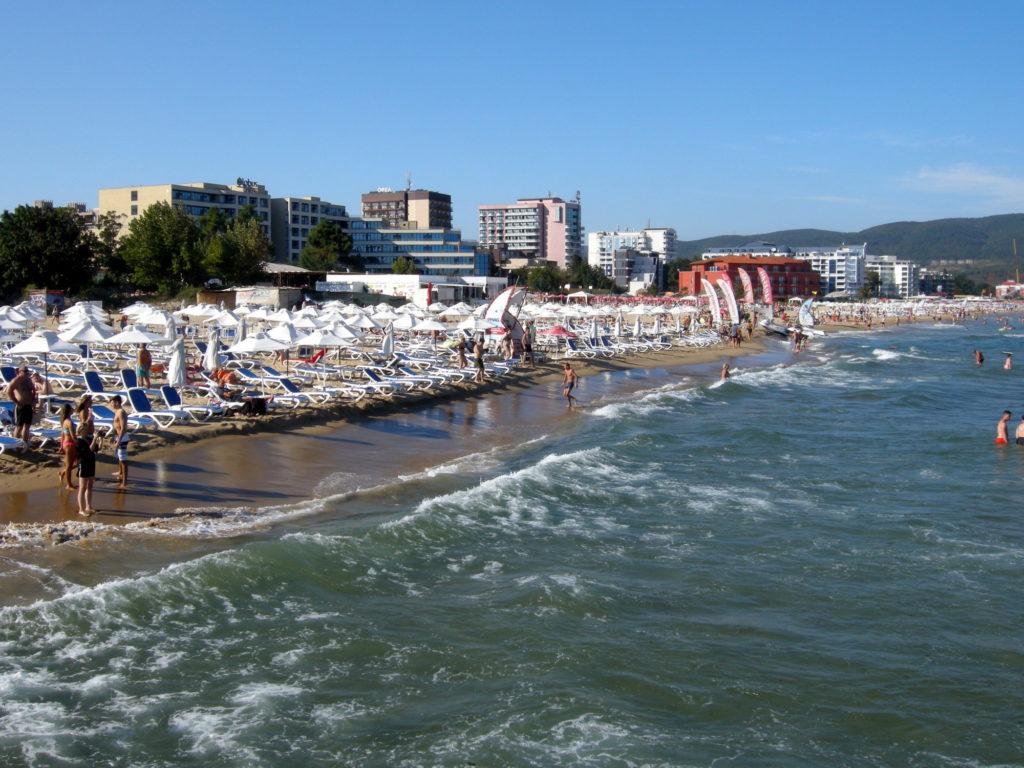 Widok na plażę w Słonecznym Brzegu Bułgaria