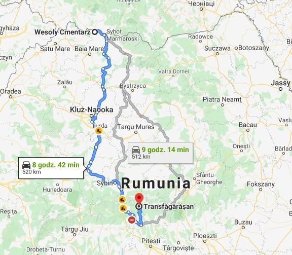 mapa trasy Rumunia