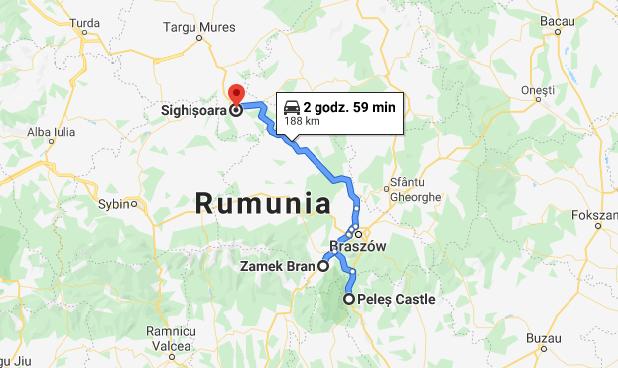 Mapa trasa Rumunia